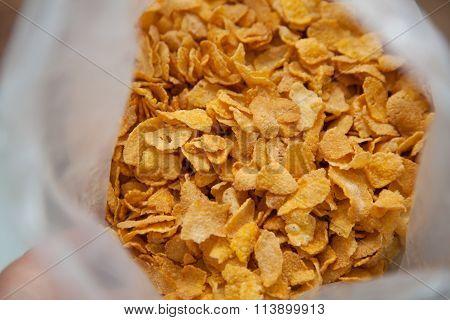 Cornflakes In Plastic Bag.