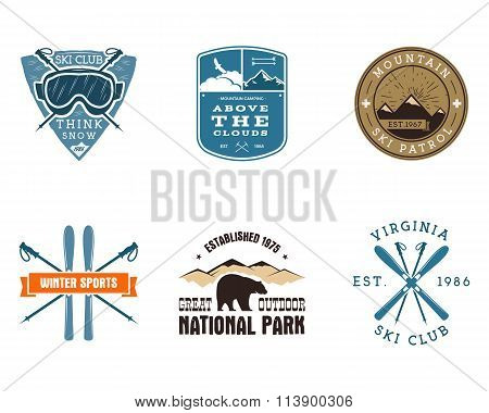 Set of Ski Club, National Park Labels. Vintage Mountain winter camping explorer badges. Outdoor adve