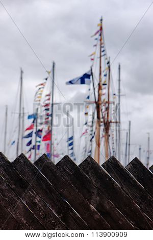 The Masts Of The Yacht Harbor Fence Boards