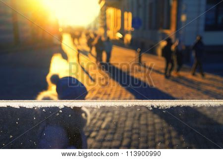 The Sun On The Horizon In The Evening On The Street In Winter