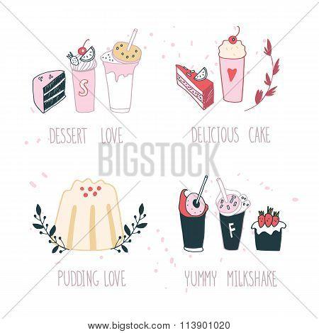 Hand Drawn Delicious Dessert Collection Milkshake Cake Pudding Cupcake Food