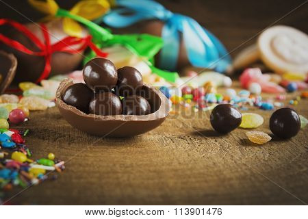Round Chocolate Candies In Chocolate Egg