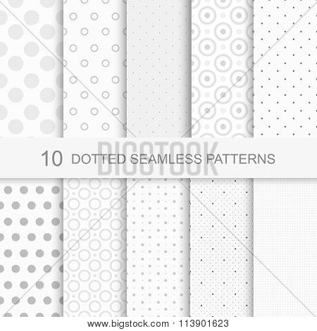 Set of seamless patterns with dots