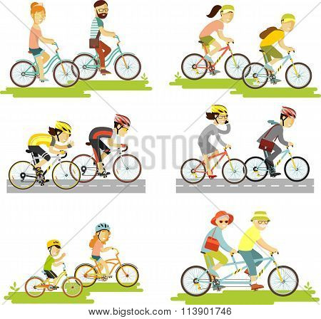 Set of bicycle rider couple in flat style
