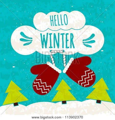 Juicy Colorful Typographic Poster With Symbols Of Warmth In The Cold Of Mittens. Hi Winter. Warming