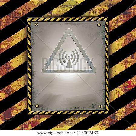 blackboard sign caution banner warning radio frequency raster