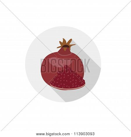 Isolated Flat Icon Of Vegetarian Food Fruits On White Background. Ripe Pomegranate. Vector