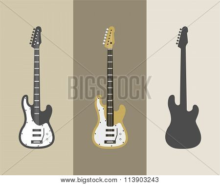 Electric guitar vector icons set. Guitar isolated icons vector illustration. Guitars isolated on whi