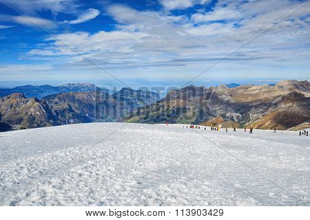 View On The Top Of Mt. Titlis In The Swiss Alps