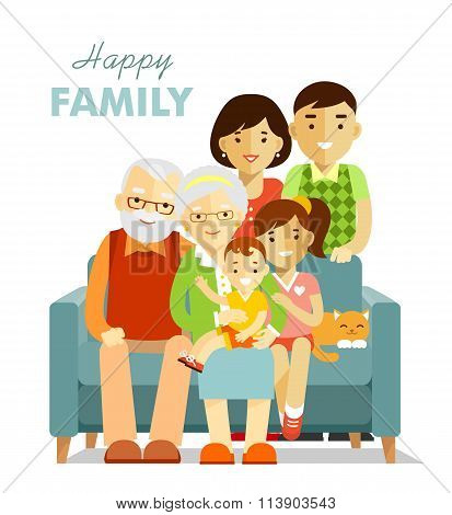 Social concept - happy family three generation together