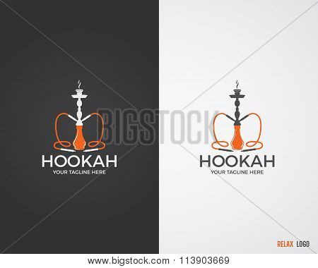 Hookah relax labels, badges and design elements collection in 2 color variations. Vintage shisha log