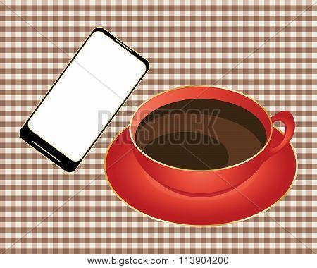 Smart Phone With Coffee