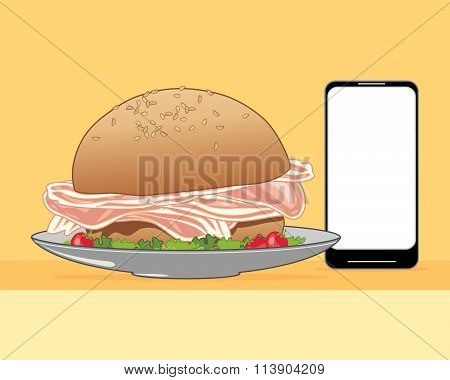 Smart Phone With Food