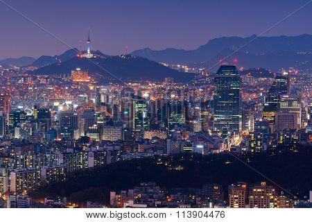 Seoul At Night, South Korea City Skyline.