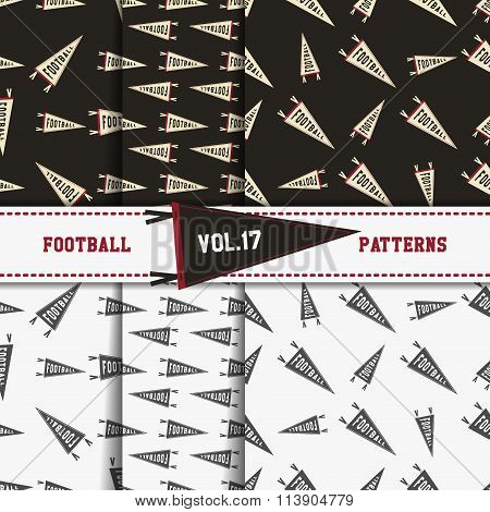 Set of american football patterns. Usa sports seamless background collection. Sport wallpaper with p