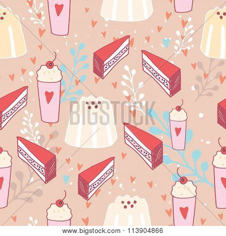 Hand Drawn Seamless Background Pattern Delicious Dessert Food Pudding Cake
