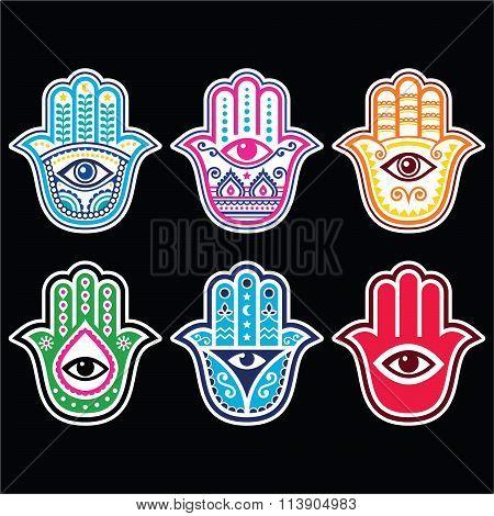 Hamsa hand, Hand of Fatima - amulet, symbol of protection from devil eye on black background