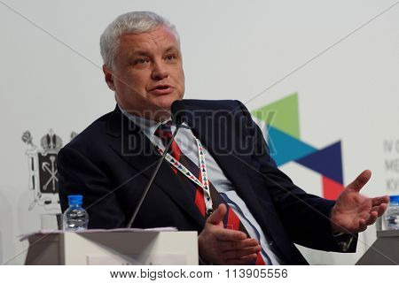 ST. PETERSBURG, RUSSIA - DECEMBER 16, 2015: Rector of Saint-Petersburg State University of Culture and Arts Alexander Turgayev during the final plenary session of 4th St. Petersburg Cultural Forum