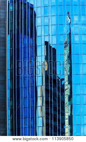 Reflections and counter-reflections on skyscraper in Offenbach am Main, Germany