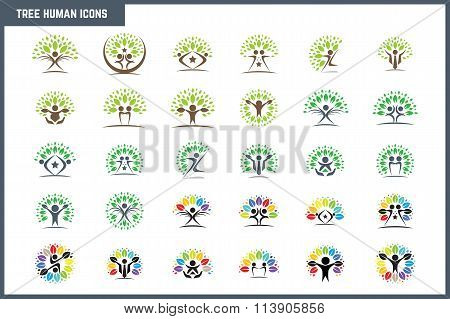 Creative Colorful Tree Human Concept Icon Set