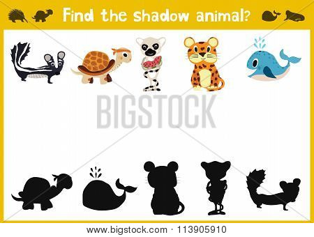 Mirror Image Five Different Cute Jungle Animals Game Visual. Task Find The Right Answer Black Shadow