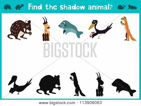 Cartoon Vector Illustration Of Education Shadow Matching Game For Preschool Children, Find A Shadow
