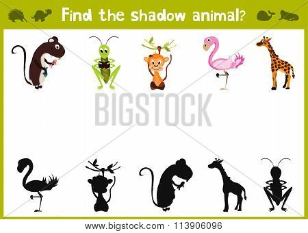 Cartoon Vector Illustration Of Education Shadow Matching Game For Preschool Children Find The Shade