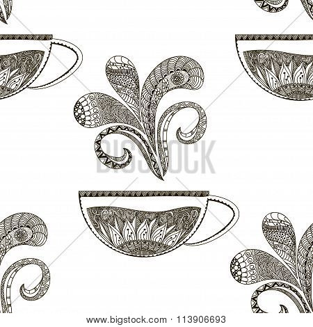 Hand Drawn Seamless Pattern In Doodle Art Style Black And White Registration Cards For Beverages, Br