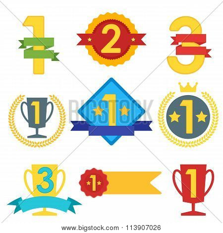 Winner Label Collection. Abstract Vector Winner Label. Flat design of Winner Label. Blank Label with Ribbon for Winners. Colorful Winner Label. Label different shapes and place. Winner icon. Winner trophy. Campion places.