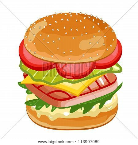 Fish Burger on white background.