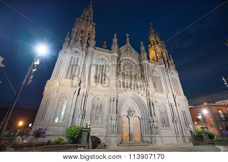 Arucas gothic cathedral at night Gran Canaria Canary islands Spain.