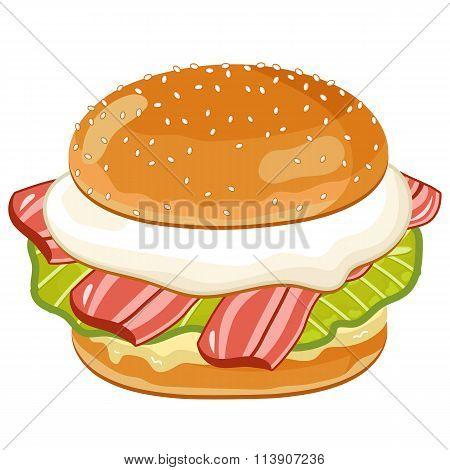 Burger on white background.
