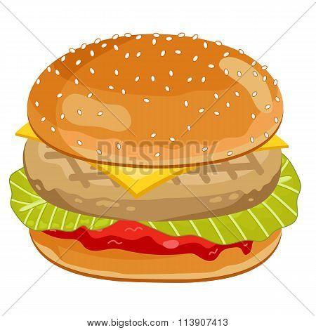 Chicken Burger on white background.