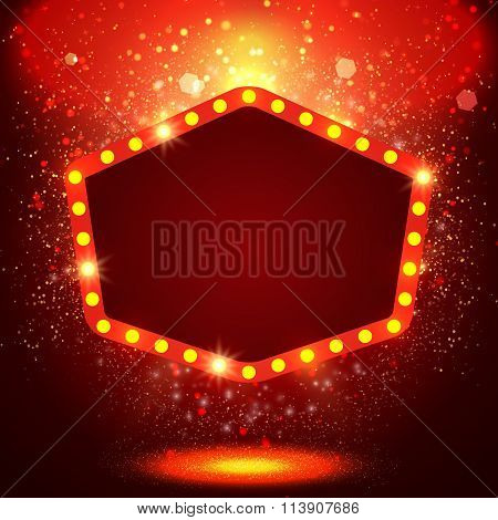 Shining Background With Retro Casino Light Banner