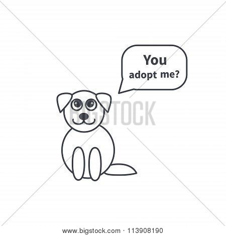 Adoptable puppy line icon