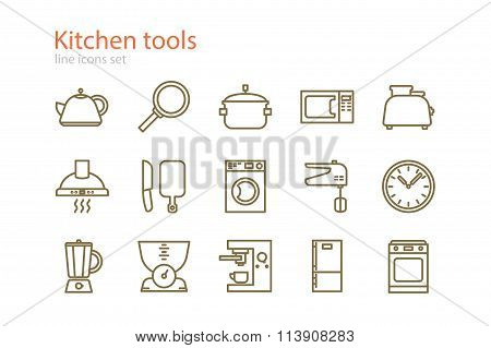 Set of line kitchen tools icons. Stock vector.