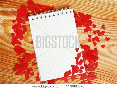 Notebook With Small Red Hearts