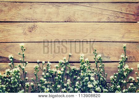 Flowers On Wood Texture Background With Copyspace. Vintage Style.