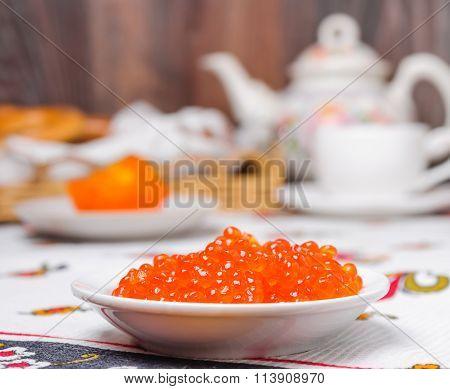 Red caviar of chum salmon