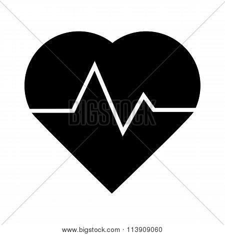 Black heartbeat icon