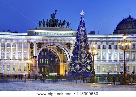Christmas Tree On Palace Square In St. Petersburg, Russia, Nighttime.