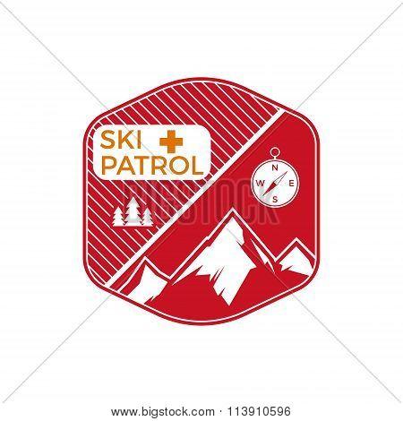 Ski Patrol Label. Vintage Mountain winter sports explorer badge. Outdoor adventure logo design. Trav
