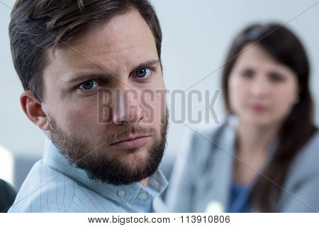 Stressed Man During Psychotherapy