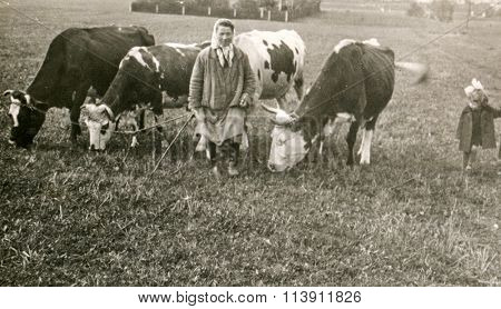RAWICZ, POLAND, CIRCA THIRTIES - vintage photo of woman with cows