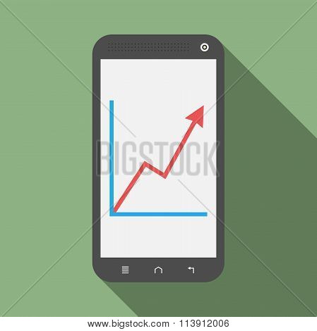 Smartphone With Growth Graph