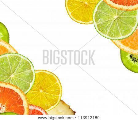 Beautiful Citrus Fruits Of Lemon, Orange, Grapefruit, Lime. Isolated On White Background