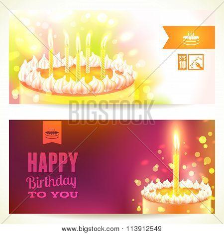 Set Of Horizontal Happy Birthday Banners. Vector Illustration, Eps10.
