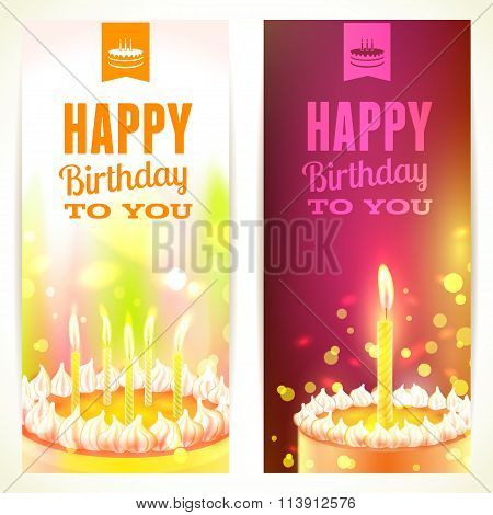 Set Of Vertical Happy Birthday Banners. Vector Illustration, Eps10.