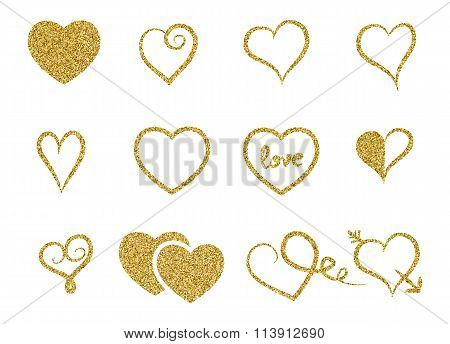Set Of Decorative Gold Glitter Texture Isolated Hearts On White Background.