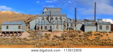 Panoramic view of Ghost town Bodie in California.